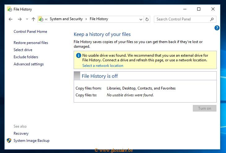 file_history Windows system and security
